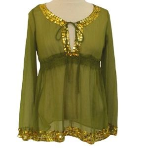 Magazine Sheer Silk/Sequined Top- Sz. Med